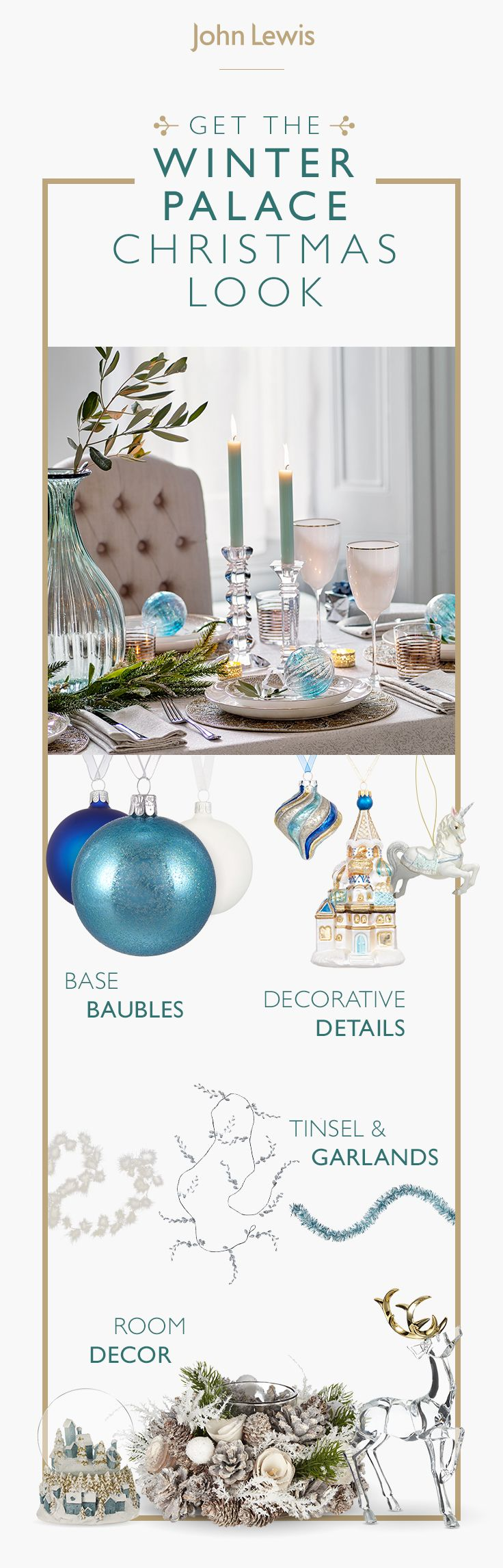 The magic of Winter Palace is captured in boutique glamour. Feathered peacock clips, sparkling diamante baubles and metallic starburst decorations provide a refined, opulent look throughout, with touches of tradition re-imagined in the form of silver leaf sprays and charming little Babushka baubles.