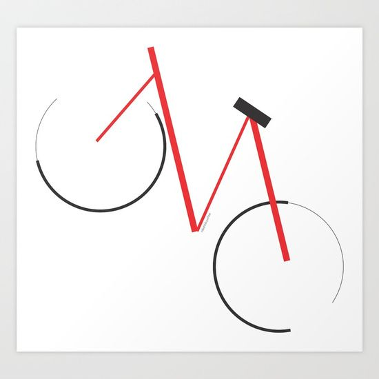 Minimal design Bicycle Print Collect your choice of gallery quality Giclée, or fine art prints custom trimmed by hand in a variety of sizes with a white border for framing.  #Bicycle #minimal #Design #minimalist #TourDeFrance #Bike #design #simple #art #passion #sports #Calm #illustration #GraphicDesign #cycling #ride #red