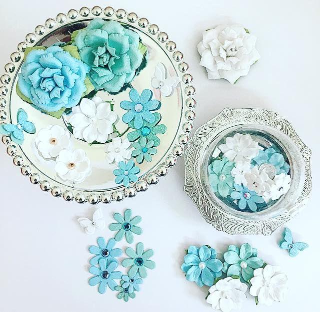 flores artesanais - adesivos charme de papel - coleção algodão doce