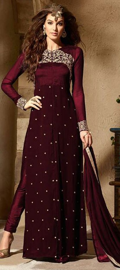 474881 Red and Maroon color family Party Wear Salwar Kameez in Faux Georgette fabric with Machine Embroidery,Thread,Zari work .