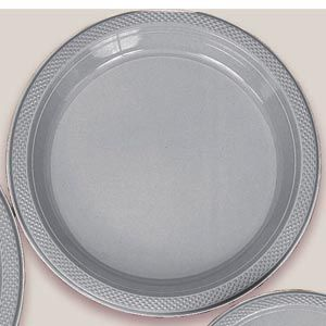 "Plastic Silver Sparkle Dinner Plates. Plastic 10.25"" Dinner Plates Solid ColoursThere are 20 Plastic Dinner Plates per package. They are a LARGE 10.25 inches and come in 22 colours to suit any theme or event. This is a great item if you require a large plate that is stronger than paper."