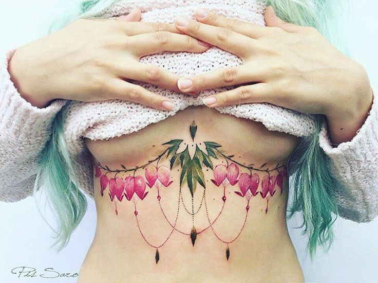 Pretty Under Boob Bleeding Heart Flowers | Best tattoo ideas & designs
