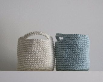 Set of  2 Storage Basket in Light turquoise and Beige