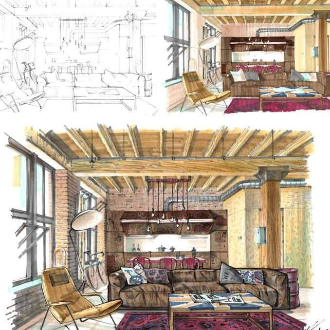 E Course On Hand Rendering With Markers Basic Level For Interior Designers By Olga Sor In 2020 Interior Design Renderings Interior Architecture Design Drawing Interior