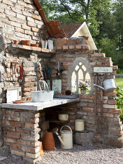 Love the ruins look with the church window - this would work on the 'old mission' I want to make the carport turned deck into, with a stone outdoor fireplace, but something like this on back of barn/house, last stall/bedroom wall.