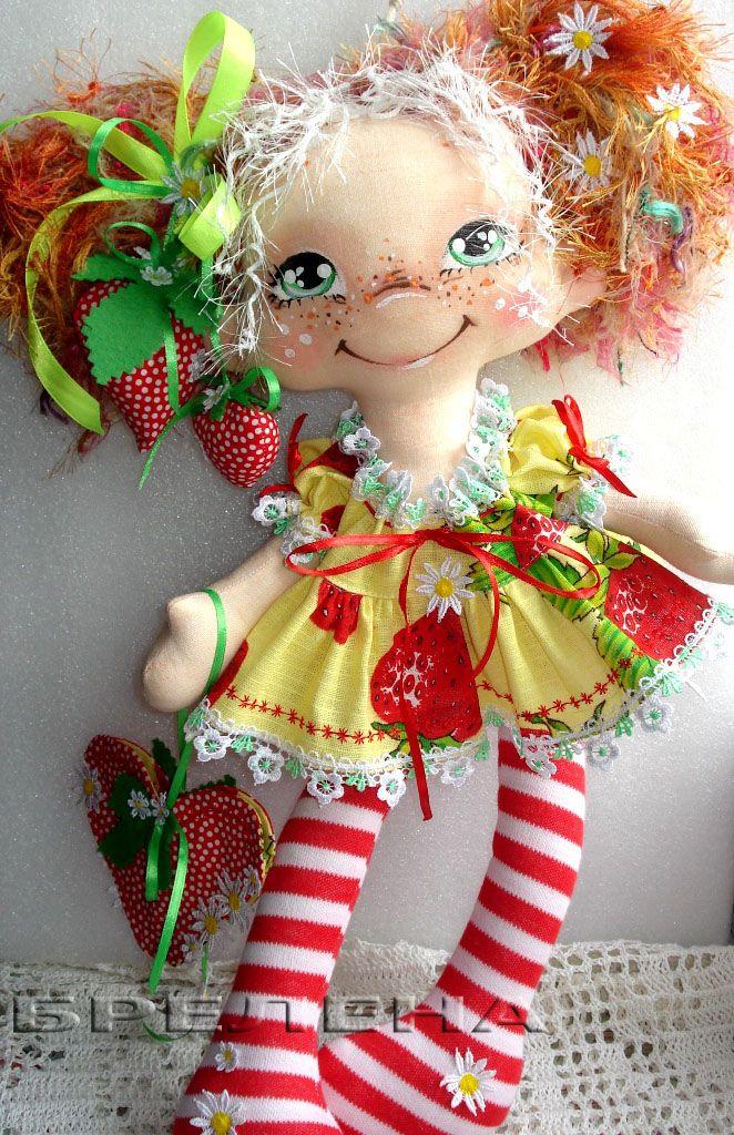 текстильная кукла Ягодная девочка-феечка лета