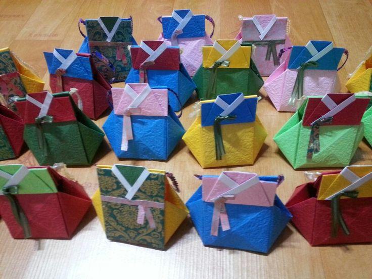 Diy- origami box 한복 복주머니
