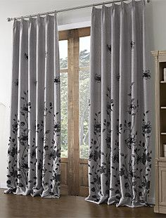 (Two Panels) Country Linen Flocking Floral Energy Saving Cur... – EUR € 68.76