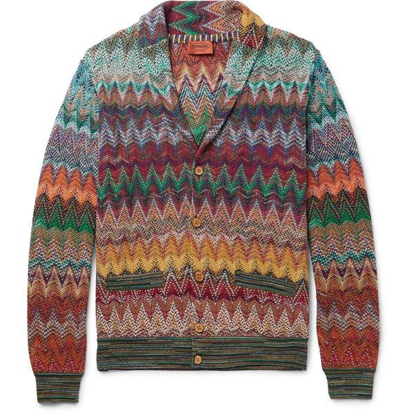Missoni Slim-Fit Shawl-Collar Crochet-Knit Cardigan (1,620 CAD) ❤ liked on Polyvore featuring men's fashion, men's clothing, men's sweaters, mens shawl collar cardigan sweater, missoni mens sweater, mens cable knit shawl collar sweater, mens cable knit cardigan sweater and mens slim fit sweater
