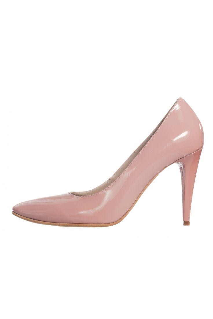 Pantofi stiletto din nude lac cu toc de 8,5 cm