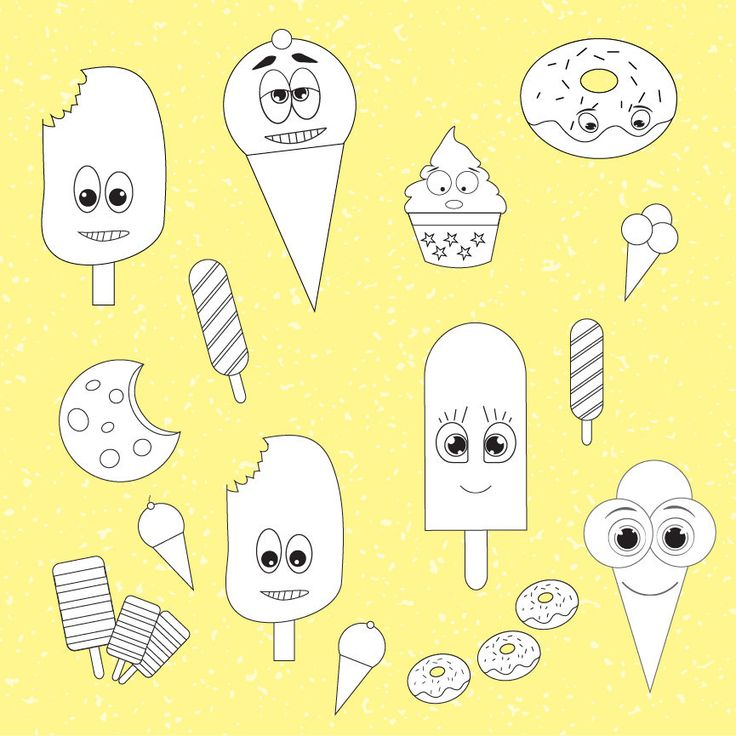 Ice cream digital stamp, commercial use,  digital images, vector graphics, digital stamp, DS0002 by Sweetdesignhive on Etsy