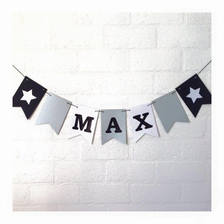 Stoere naamslinger voor de verjaardag van Max, feestslinger