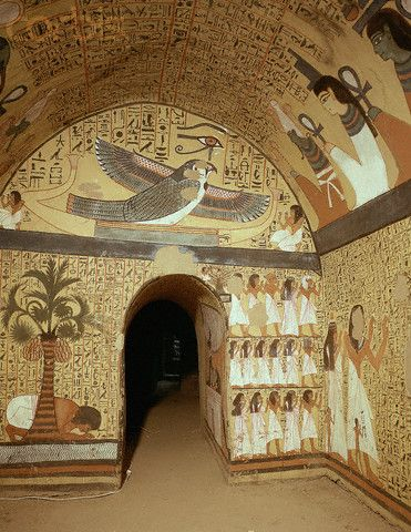 Mural Paintings in Tomb of Peshedu, Deir el-Medina, Egypt. Peshedu was a 'Servant In the Place of Truth' during the Ramesside Period.