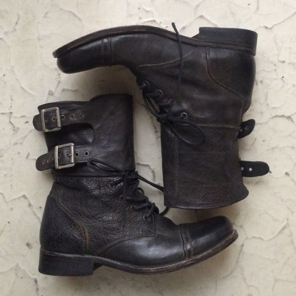 Allsaints Men's combat boots Men's distress leather combat boots All Saints Shoes Combat & Moto Boots