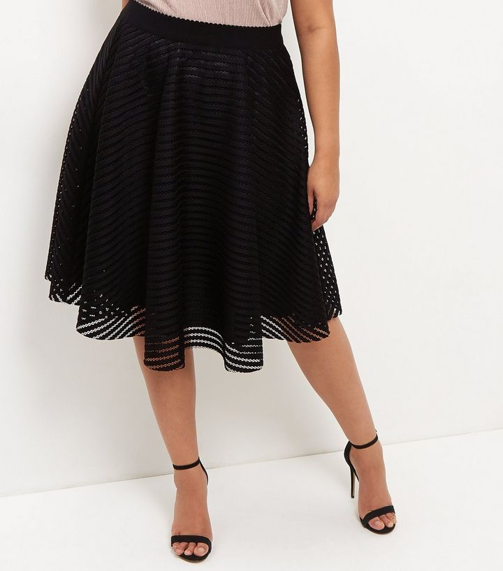 Curves - Jupe patineuse noire en tulle | New Look