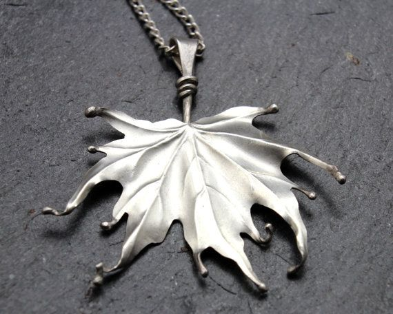 Silver Maple Leaf Pendant, a repoussed and forged sterling pendant