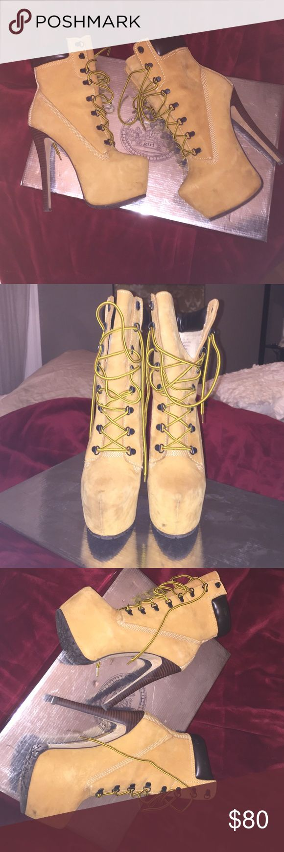 Zigi Girl Timberland Heel Wicked Fun Zigi Girl Timberland Heel - worn a couple of times, small scuffs on the suede, but nothing crazy!  Still in great condition! Zigi Soho Shoes Lace Up Boots