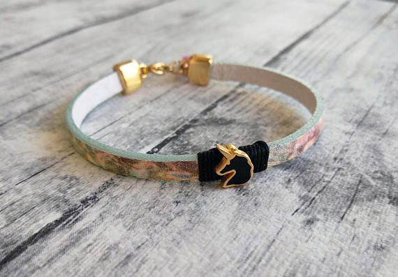 Unicorn bracelet Colorful bracelet Leather bracelet Charm