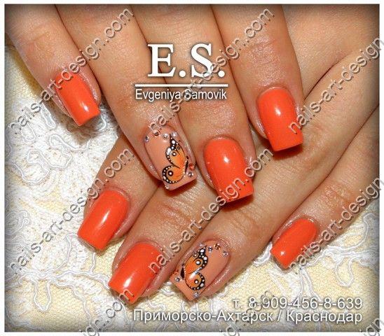 оранжевый маникюр фото