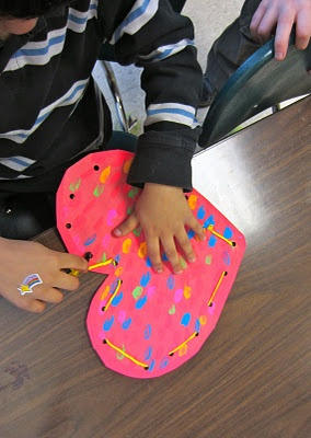 Kindergarten HeARTs! large paper with lacing and stuffed inside