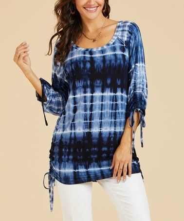 c93eba8d818 Suzanne Betro Weekend | Navy & White Tie-Dye Ruched-Detail Tunic ...