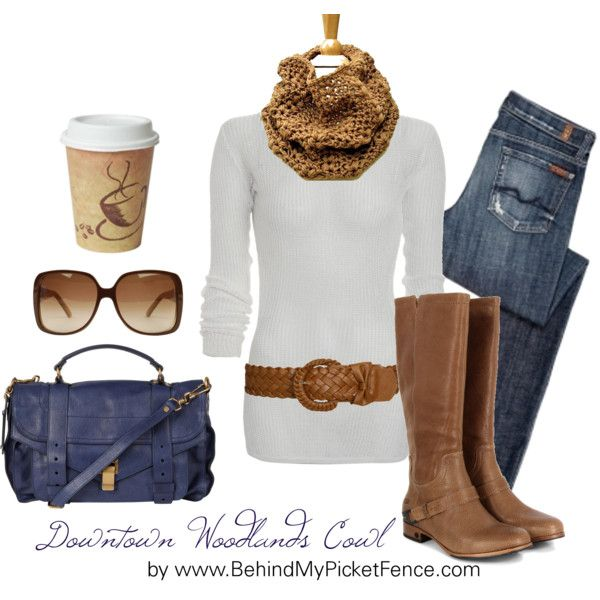 """""""Downtown Blue & Brown"""" by behindmypicketfence on Polyvore"""