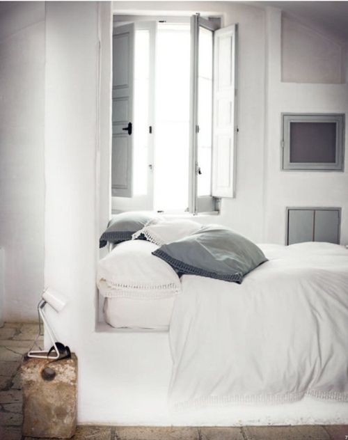 I like the idea of soft grey bedding. It would be good with our 70s patchwork quilt