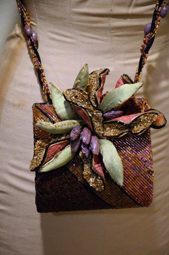 Mary Frances Beaded Flower Evening Bag by CometWest on Etsy, $89.00