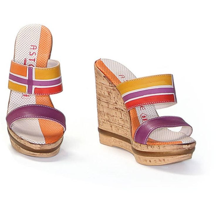 Natural leather sandals with wedges, hand painted. Ideal for casual clothes and free time. Match them to your Acquerello handbag! Colors red yellow violet and orange and pattern geometrical. By Astore Venezia