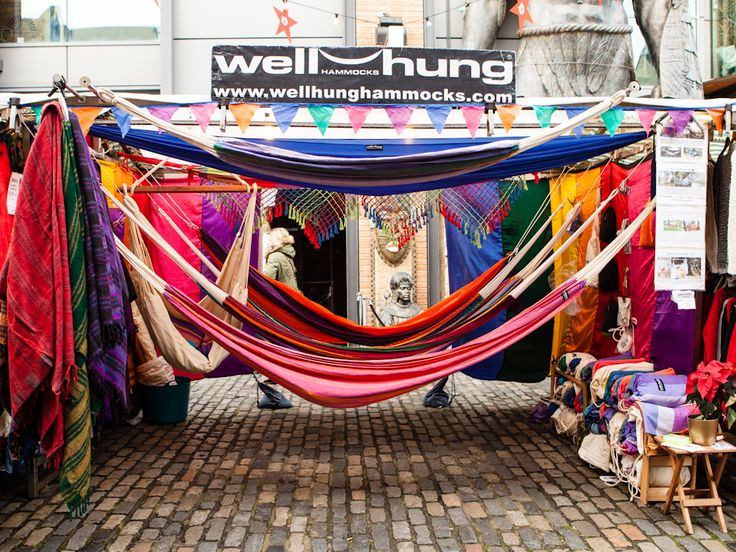 We sell Mexican string hammocks, traditional Brazilian cotton hammocks, parachute travel hammocks, chair hammocks, hammock stands and wall fixings and if we don't have it we can probably get it for you. Come to our stall where you can see, try and buy or just ask us for a little bit of advice –