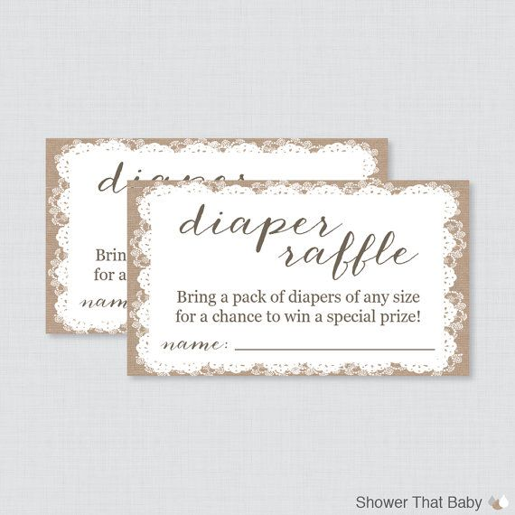 Burlap and Lace Baby Shower Diaper Raffle Ticket Cards and Diaper Raffle Sign Printable Instant Download - Baby Diaper Raffle - Burlap 0063