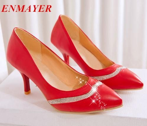 Cheap Pumps, Buy Directly from China Suppliers:             ENMAYER Peep Toe Round Toe Thin Heels High shoes 2015 New Sexy Platform pumps