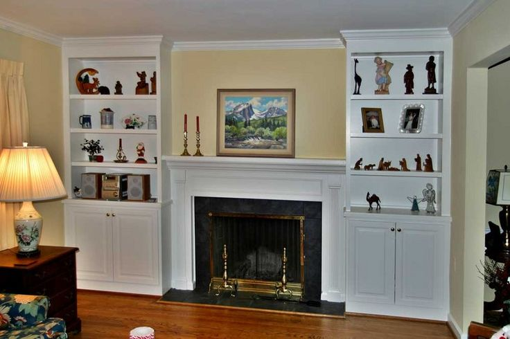Fireplace surrounds with bookcases two fireplaces that for Bookshelves next to fireplace
