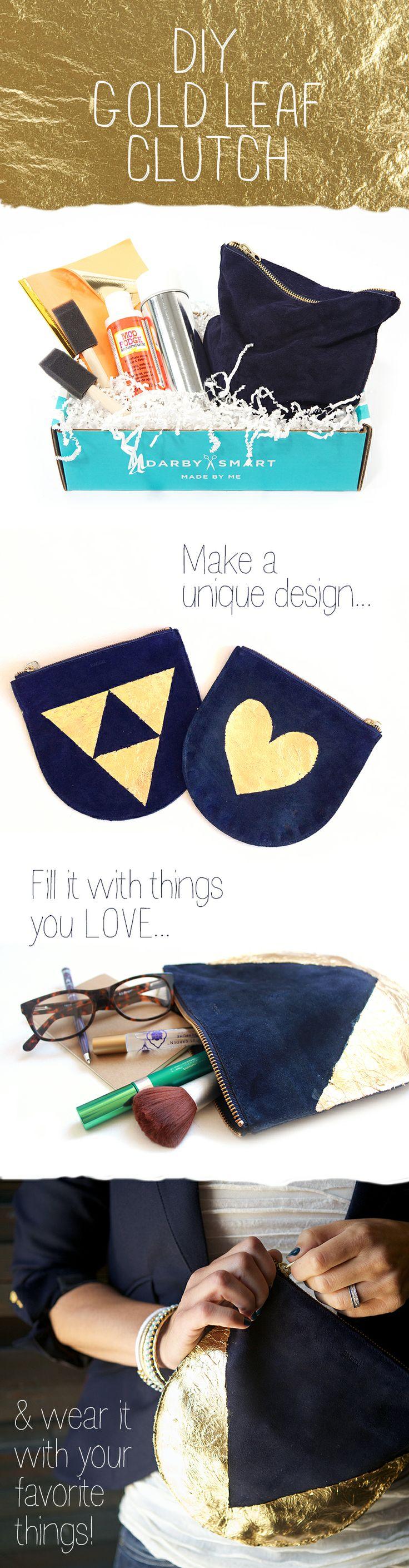 Gold Leaf Clutch | #DarbySmart | a #DIY designed by @Casey Dalene Dalene Dalene Dalene Starks