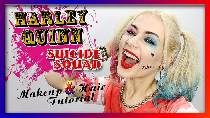 ♠ Harley Quinn Suicide Squad Makeup & Hair Tutorial ♣ Харли Квинн ♦ Отря...