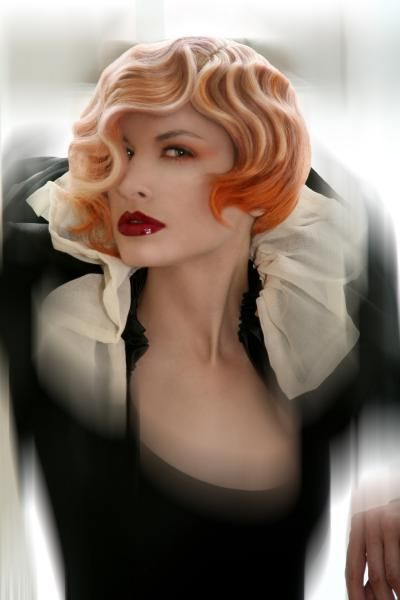 WOW (peach blond, tangerine tips, highlights, fingerwaves, and photoshop) I knew learning fingerwaves would come in handy someday