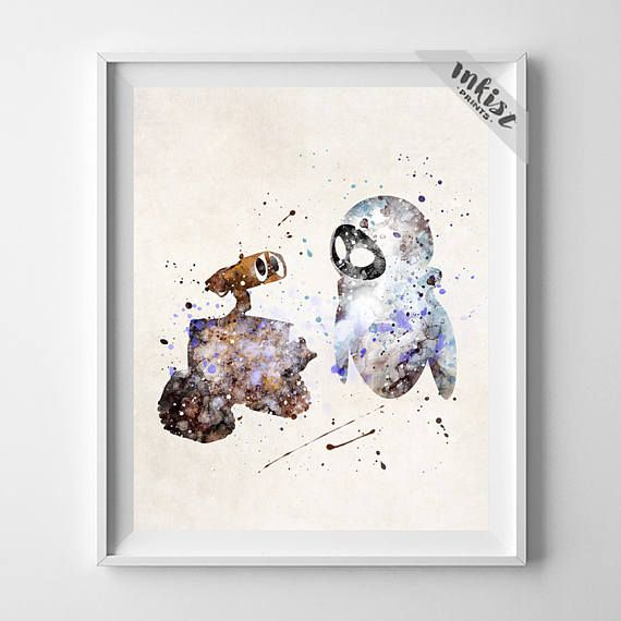 Wall-E Art, Eve Print, Wall-E Poster, Wall-E Watercolor, Disney Poster, Wedding Gift, Dorm Room Art, Giclee, Baby Room Decor, Gift For Him, Wall Art. PRICES FROM $9.95. CLICK PHOTO FOR DETAILS. #inkistprints #watercolor #watercolour #giftforher #homedecor #wallart #walldecor #poster #print #christmas #christmasgift #weddinggift #nurserydecor #mothersdaygift #fathersdaygift #babygift #valentinesdaygift #painting #dorm #decor #livingroom #bedroom