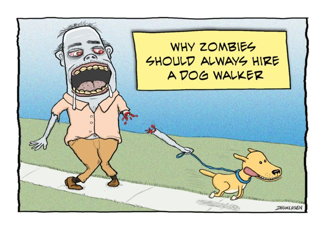 Funny Zombie Dog Walker Birthday Card Ad Sponsored Dog Zombie Funny Card Zombie Humor Zombie Cartoon Holiday Flyer Design