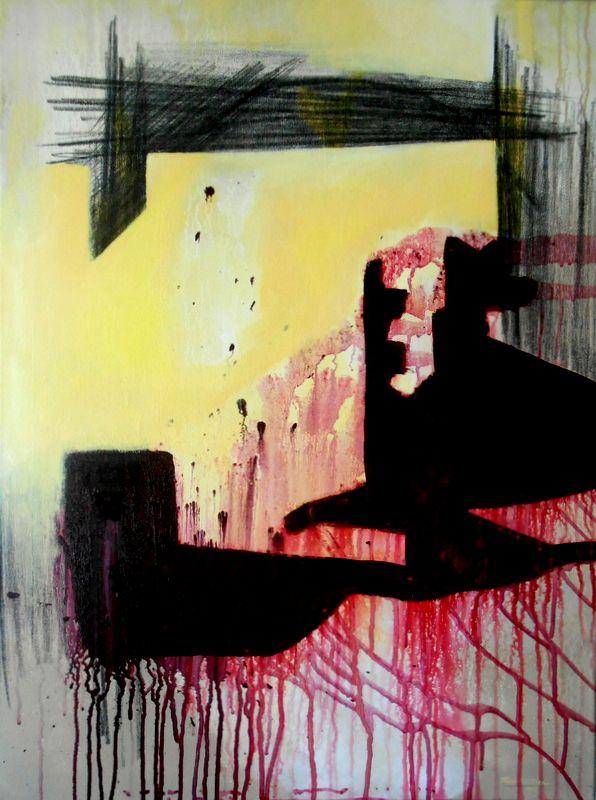 Acrílico sobre tela 80x60 by Rui Silva Teixeira. Sobre o caminho, poema de Eugénio de Andrade