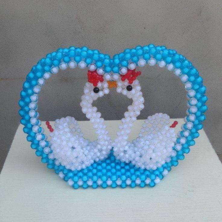 3D beading Couple Swan Handmade beadwork for kids Wedding/Valentine's day gift