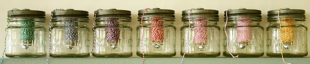 Mini Mason Jar Twine Dispensers: a great (and attractive) way to store your baker's twine.