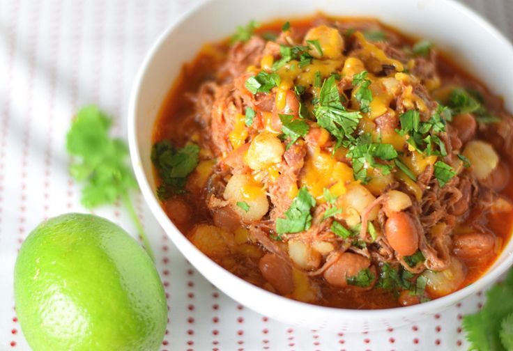 Mexican Posole Soup with Shredded Pork