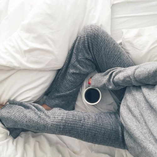 Weekends in bed with coffee and knitted pants
