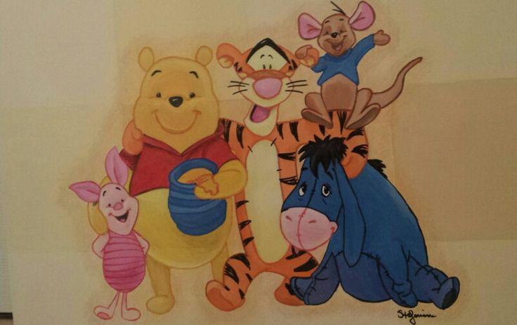 Winnie the Pooh - disegno su tela  tempera e pennarelli.