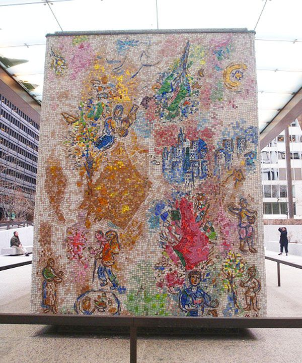 Marc chagall mosaic chicago the four seasons marc for Chagall mural chicago