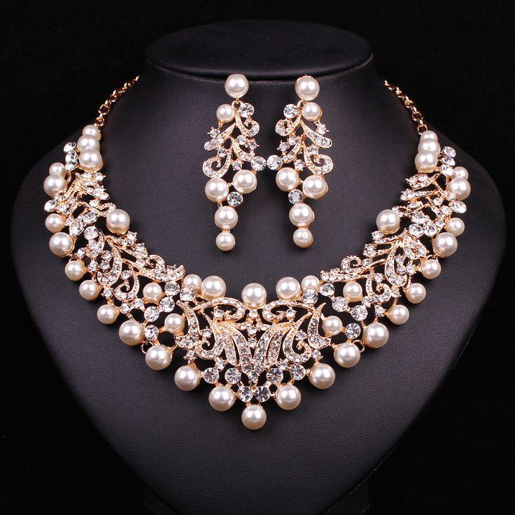 Moda Collar Llamativo de la Perla Pendientes Chapado En Oro de Joyería Nupcial Conjuntos de Novia Joyería de La Boda Accesorios Vestido de Fiesta de Las Mujeres