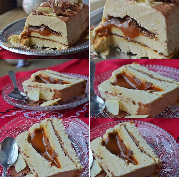 Semifreddo au sirop d'érable, chocolat au lait croquant et caramel coulant