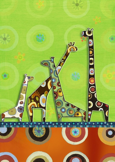 Four Giraffes by Naomi Fuks  This is adorable - would be so cute in little one's room.