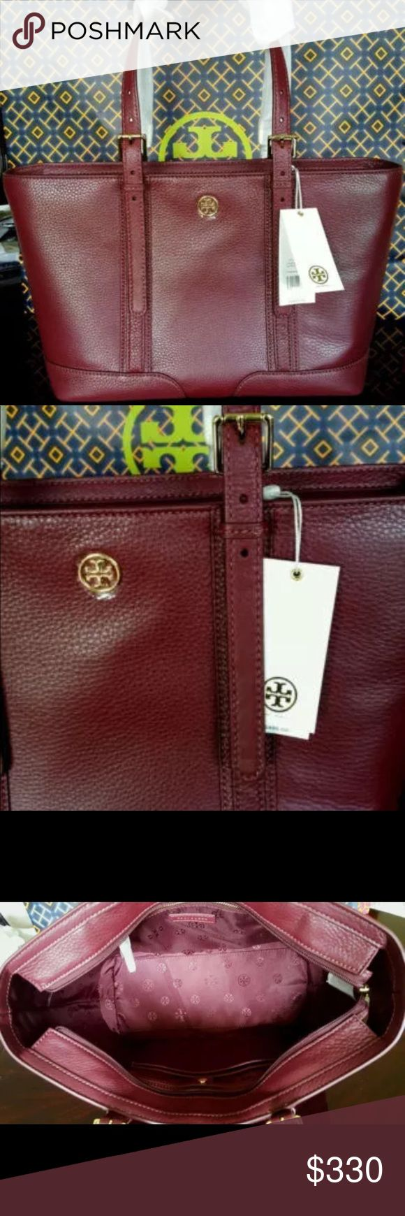 Tory Burch medium tote burgundy pebble leather NWT new pebble leather tote Tory Burch Tory Burch Bags Totes