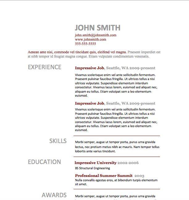 Free Resume Download Simple Resume 10 - Microsoft Word Format